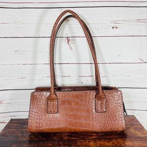 Tommy Hilfiger Brown Faux Croc Shoulder Handbag